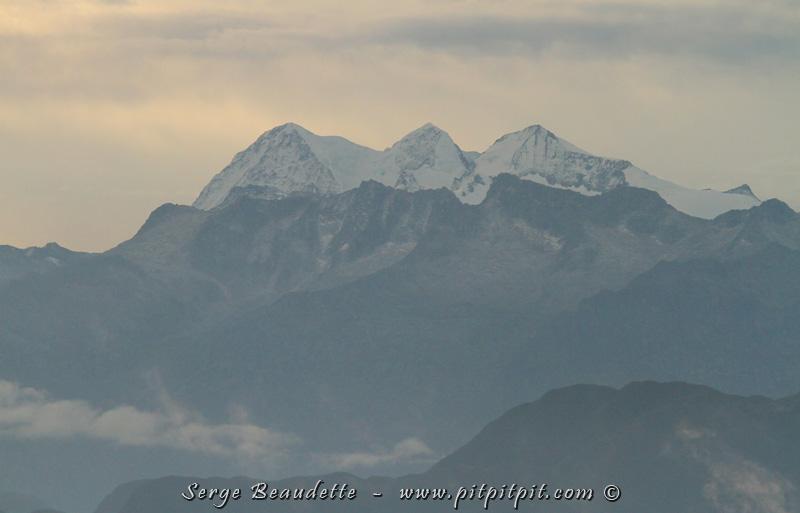Et, comme je le mentionnais hier, les sommets enneigés, à l'opposé de la mer...! Par ailleurs, c'est là que se trouve le Colibri à barbe bleue, isolé dans ces montagnes sauvages et difficiles d'accès!